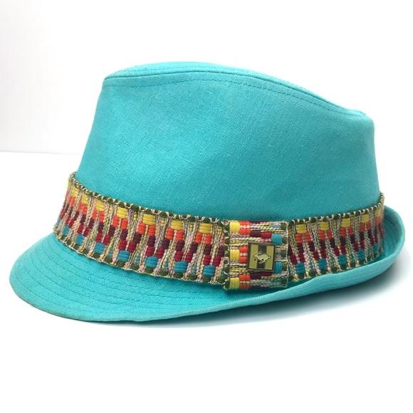cd0f0bbaa Peter Grimm Linen Aqua Rasta Aztec Brim Fedora Hat